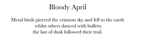 Bloody April opening lines